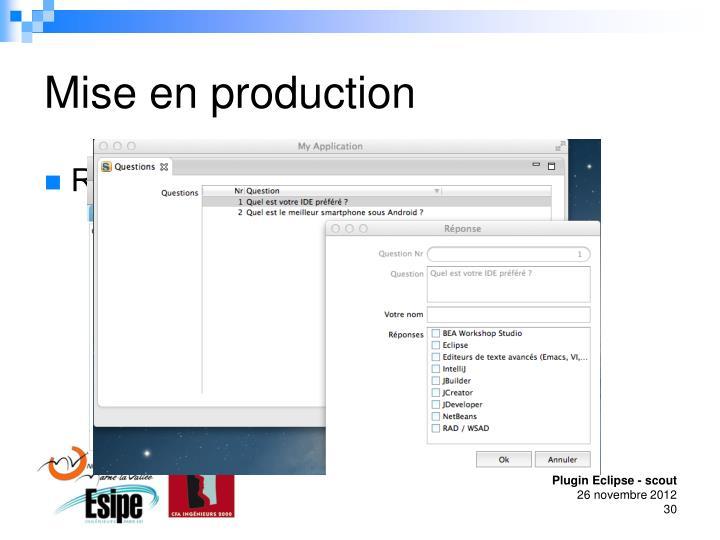 Mise en production