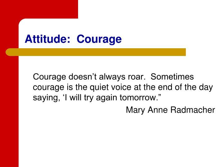 Attitude:  Courage