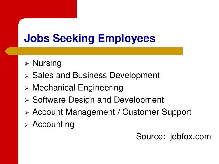 Jobs Seeking Employees