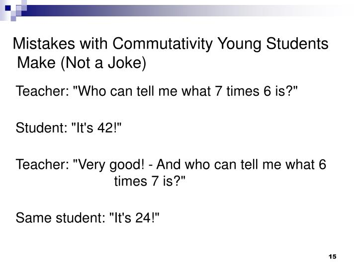 Mistakes with Commutativity Young Students