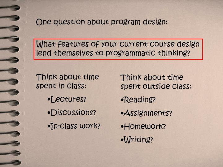 One question about program design:
