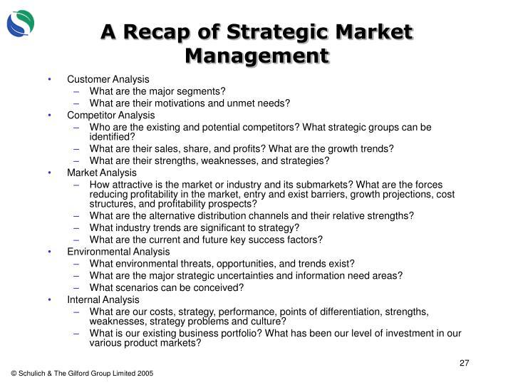 A Recap of Strategic Market Management
