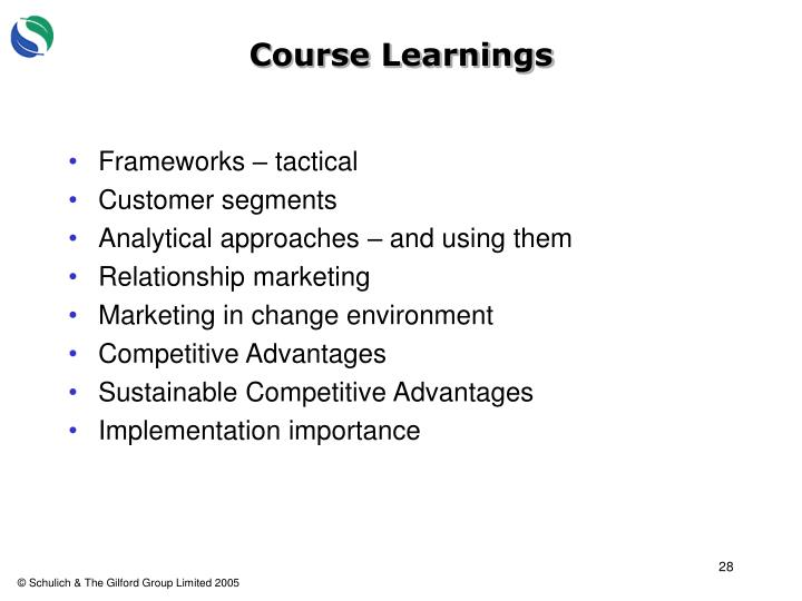 Course Learnings