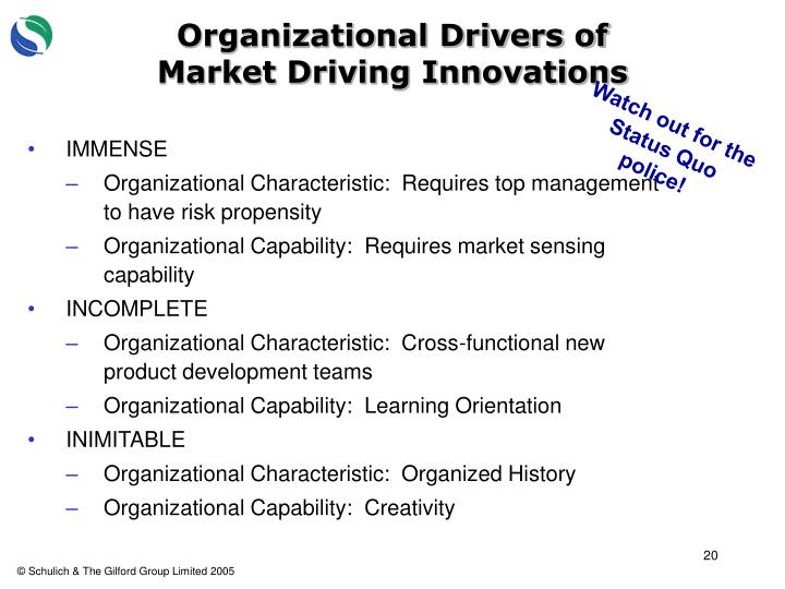 Organizational Drivers of Market Driving Innovations