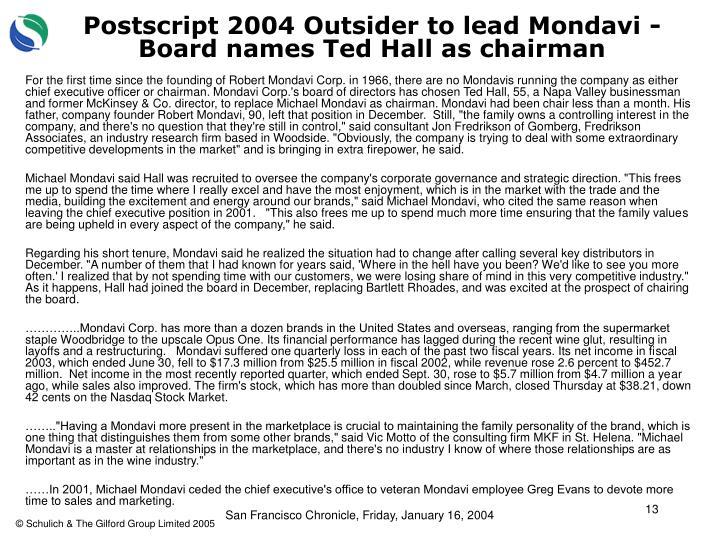 Postscript 2004 Outsider to lead Mondavi - Board names Ted Hall as chairman