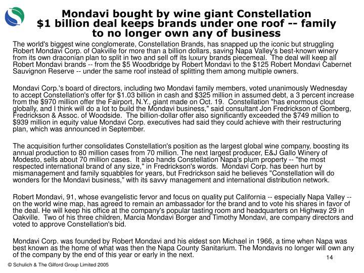 Mondavi bought by wine giant Constellation