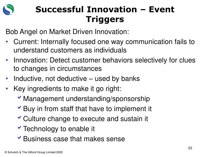 Successful Innovation – Event Triggers