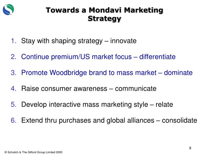 Towards a Mondavi Marketing Strategy