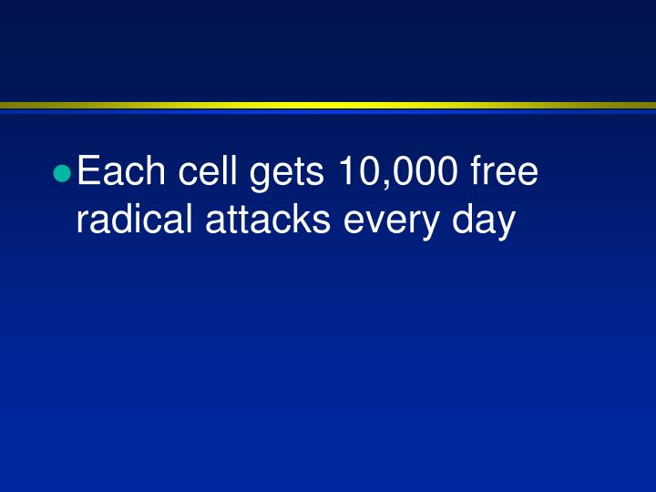Each cell gets 10,000 free radical attacks every day