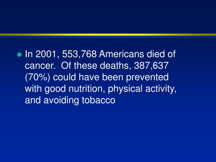 In 2001, 553,768 Americans died of cancer.  Of these deaths, 387,637 (70%) could have been prevented with good nutrition, physical activity, and avoiding tobacco
