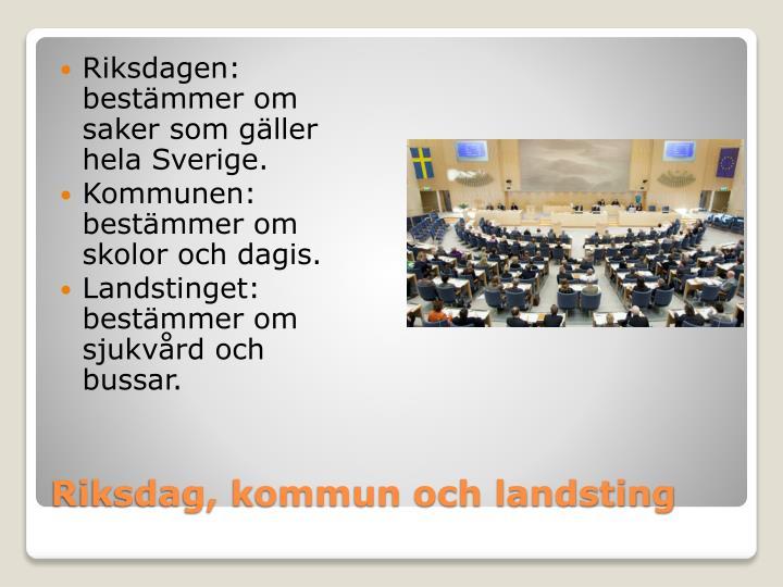 Riksdagen: bestämmer om saker som gäller hela Sverige.