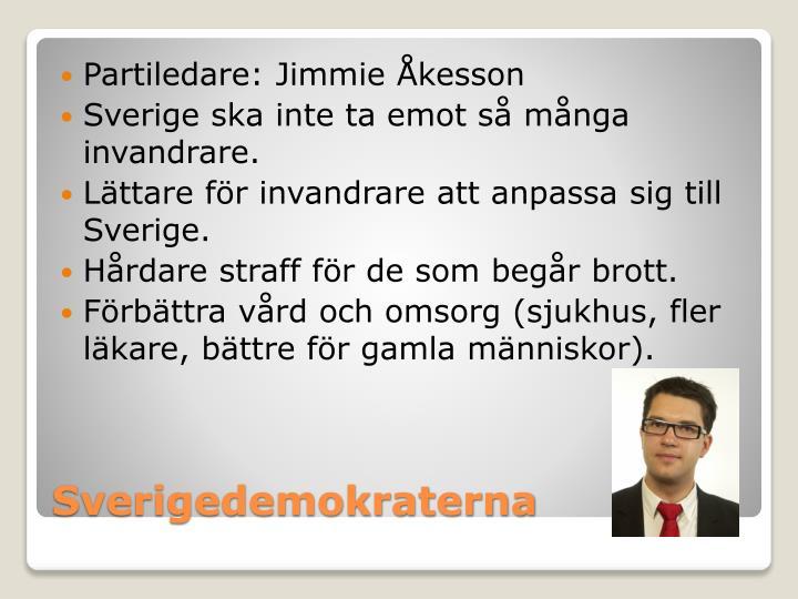 Partiledare: Jimmie Åkesson