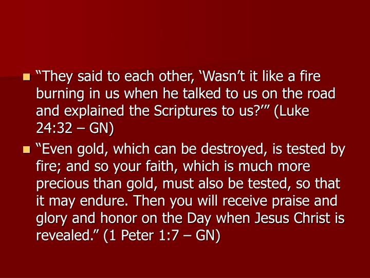 """They said to each other, 'Wasn't it like a fire burning in us when he talked to us on the road and explained the Scriptures to us?'"" (Luke 24:32 – GN)"