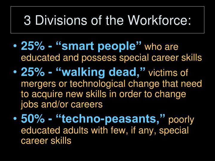 3 Divisions of the Workforce: