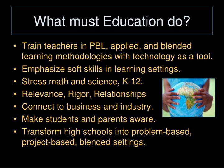 What must Education do?