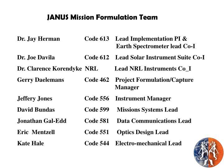JANUS Mission Formulation Team