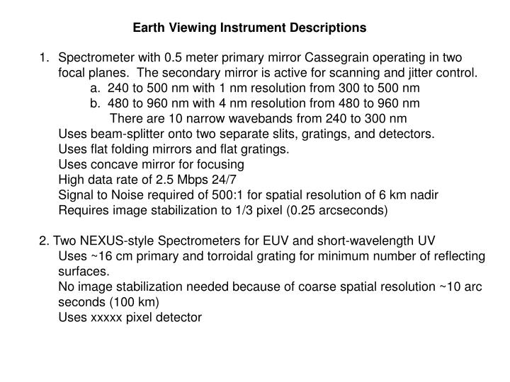 Earth Viewing Instrument Descriptions