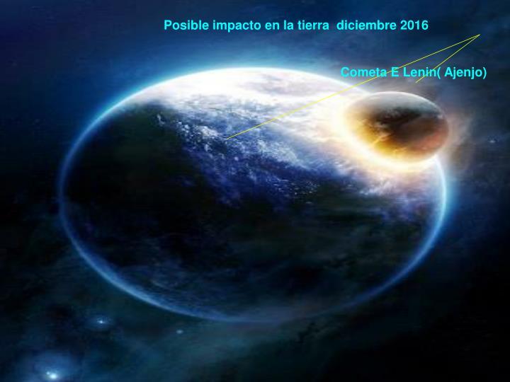 Posible impacto en la tierra  diciembre 2016