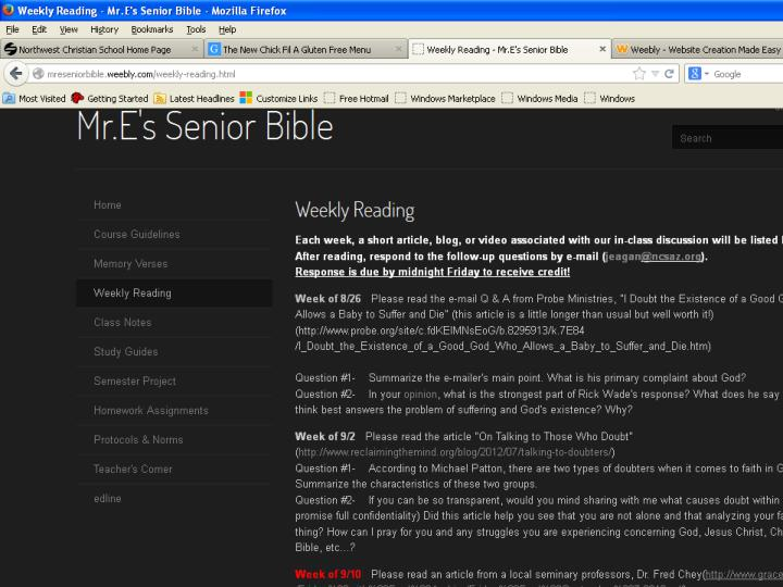 Screen shot of weekly reading assignment