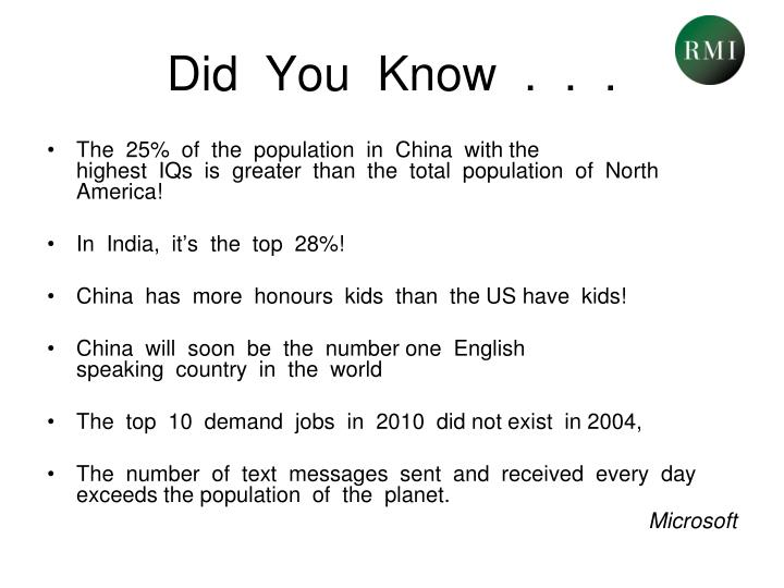 Did  You  Know  .  .  .