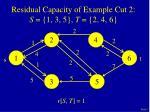 residual capacity of example cut 2 s 1 3 5 t 2 4 6