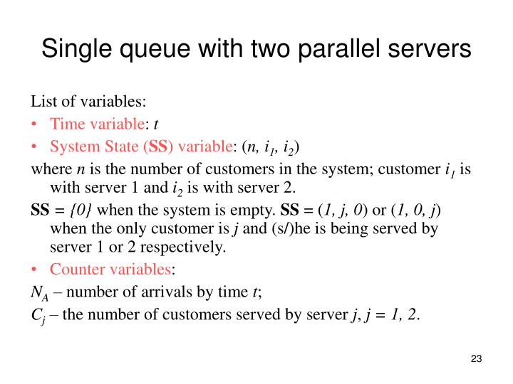 Single queue with two parallel servers