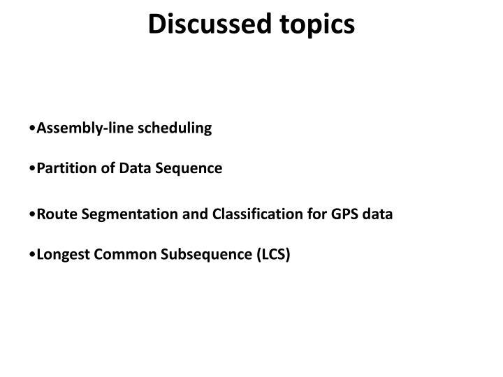 Discussed topics