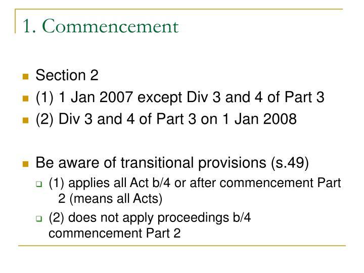 1. Commencement