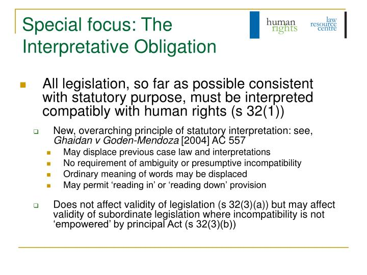 Special focus: The Interpretative Obligation