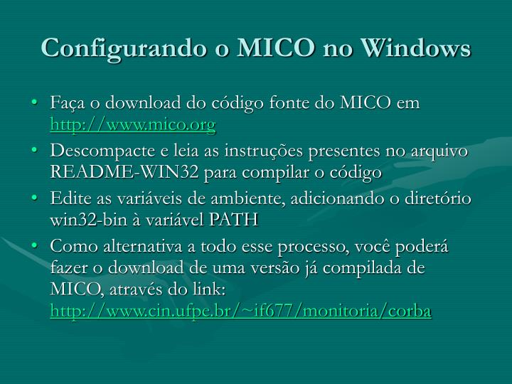 Configurando o MICO no Windows