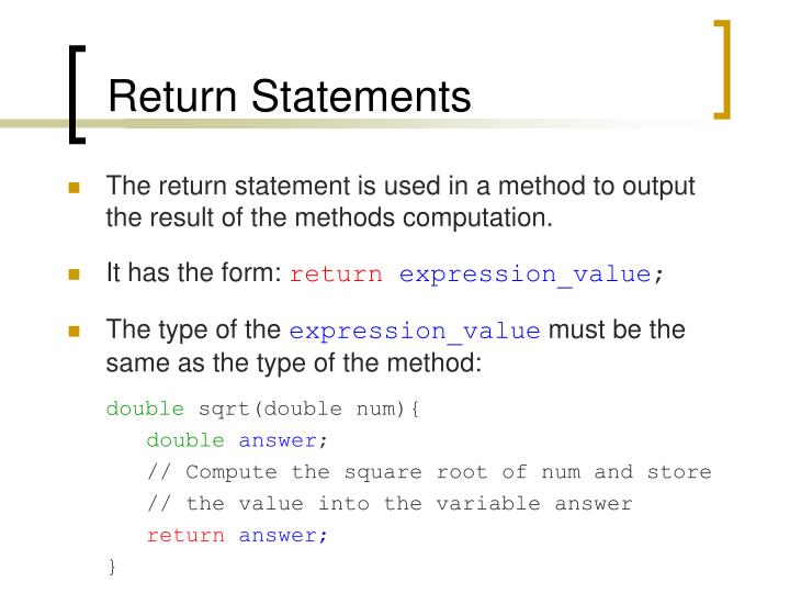 Return Statements