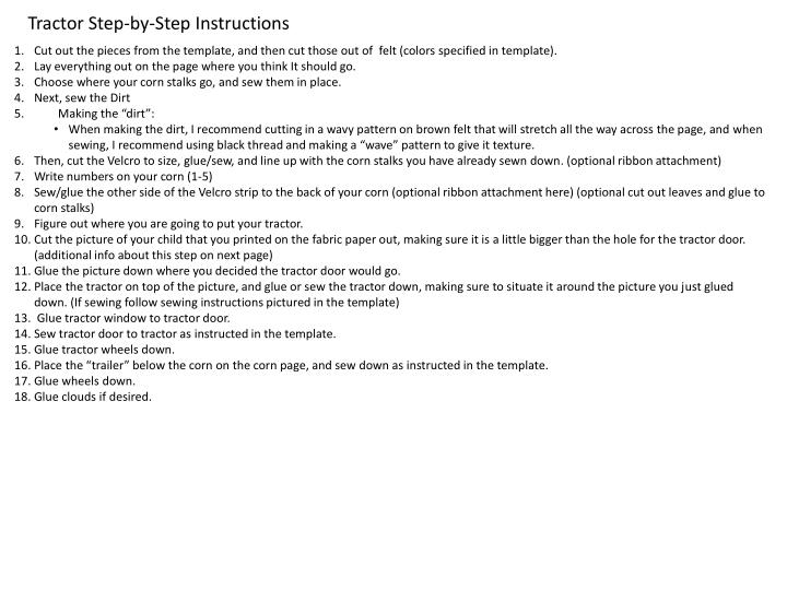 Tractor Step-by-Step Instructions