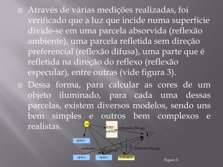 Através de várias medições realizadas, foi verificado que a luz que incide numa superfície divide-se em uma parcela absorvida (reflexão ambiente), uma parcela refletida sem direção preferencial (reflexão difusa), uma parte que é refletida na direção do reflexo (reflexão especular), entre outras (vide figura 3).