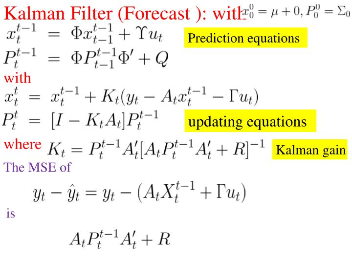 Kalman Filter (Forecast ): with