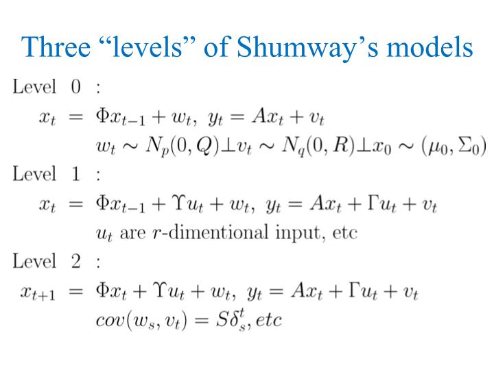 "Three ""levels"" of Shumway's models"