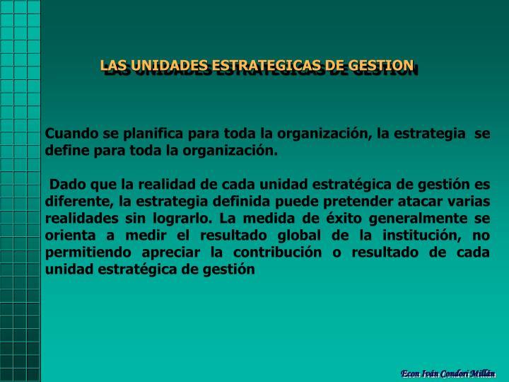 LAS UNIDADES ESTRATEGICAS DE GESTION