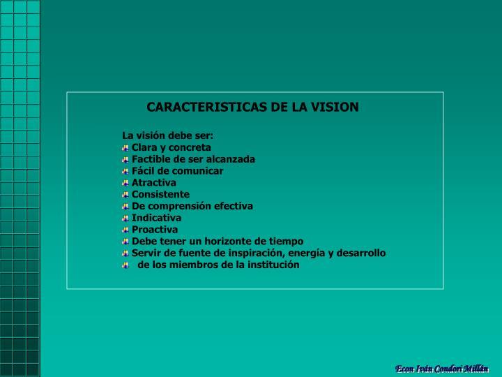 CARACTERISTICAS DE LA VISION