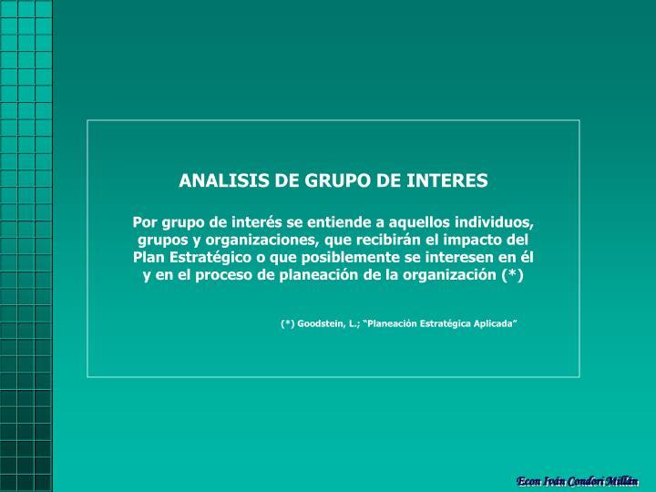 ANALISIS DE GRUPO DE INTERES