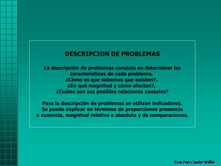 DESCRIPCION DE PROBLEMAS