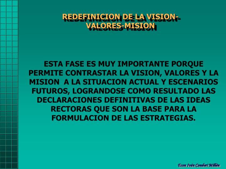 REDEFINICION DE LA VISION-VALORES-MISION