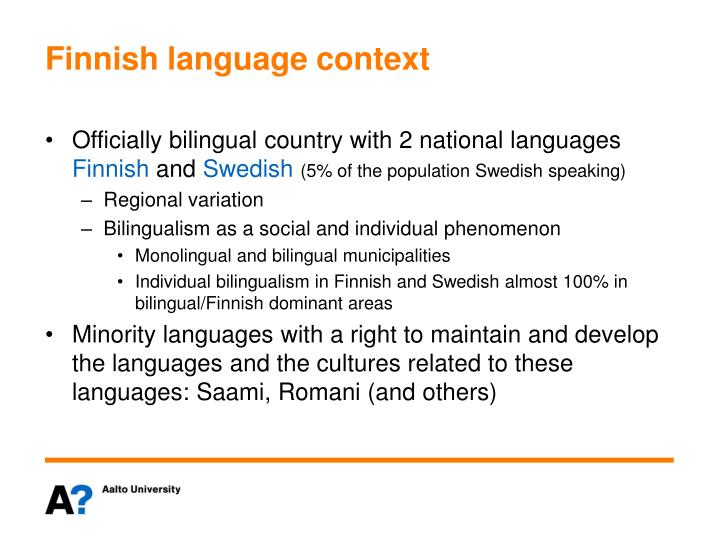 Finnish language context