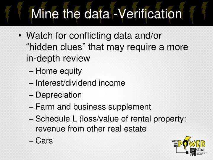 Mine the data -Verification