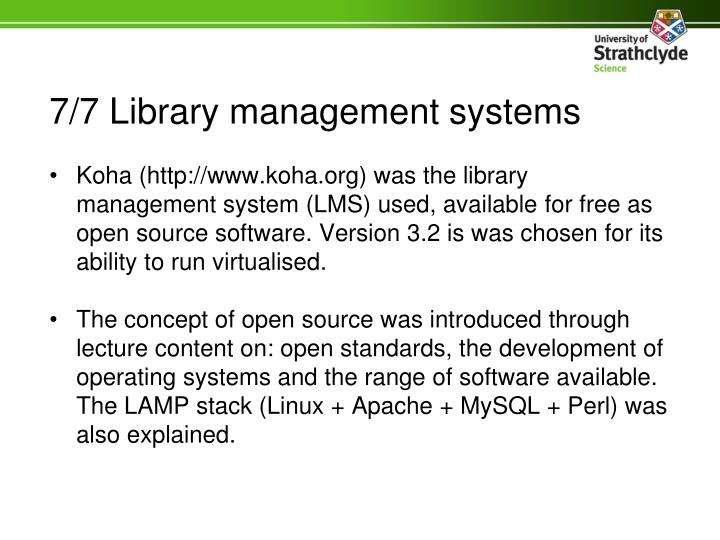 7/7 Library management systems