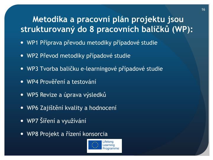Metodika a pracovní plán projektu jsou strukturovaný do 8 pracovních balíčků (WP)