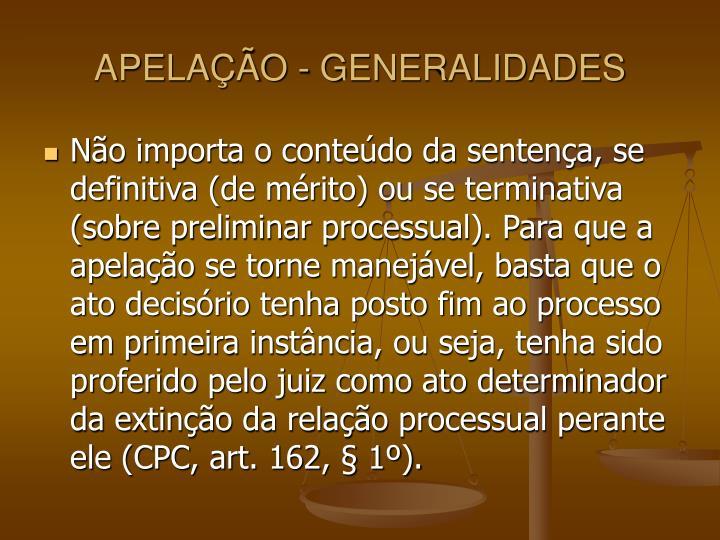 APELAÇÃO - GENERALIDADES