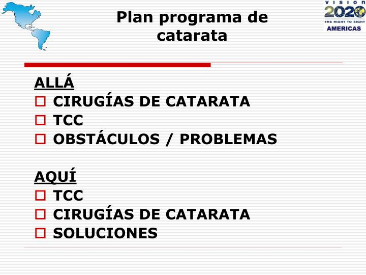 Plan programa de catarata