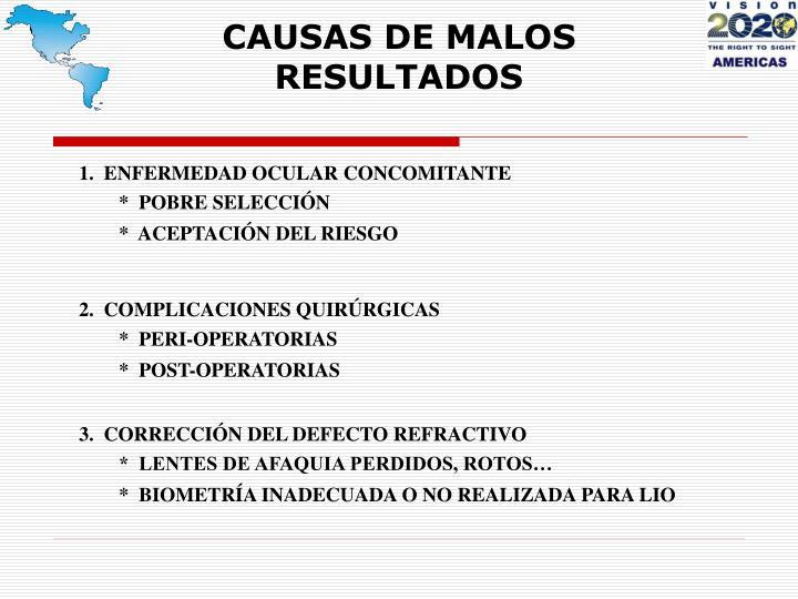 CAUSAS DE MALOS RESULTADOS