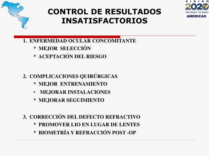 CONTROL DE RESULTADOS INSATISFACTORIOS