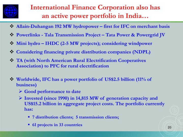 International Finance Corporation also has an active power portfolio in India…