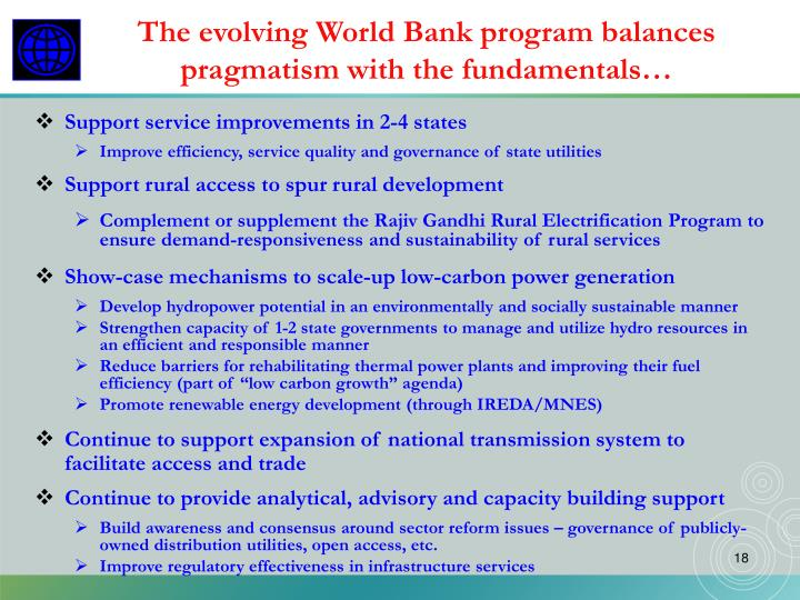 The evolving World Bank program balances pragmatism with the fundamentals…